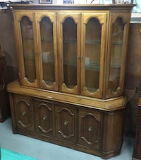 Large Wood Glass Front China Cabinet w/ Glass Shelves by Century Salina