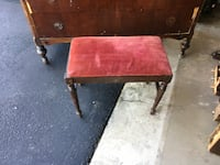 Antique wooden and red velvet dresser bench stool Mc Lean