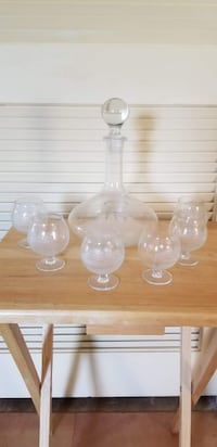 8 Piece Ship motif Decanter with snifter glasses BRISTOW