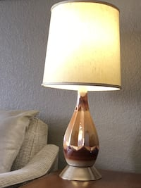 Mcm mid modern carnival glass table lamp