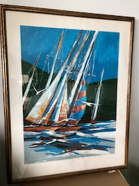 """Sailboat, large lithograph, beautifully framed, sample proof  signed by James Groody, 38""""x29"""" Lido Beach, 11561"""
