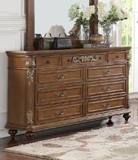 Brand New Chiarina Medium Brown Wood 9-Drawer Dresser by Poundex Лос-Анджелес