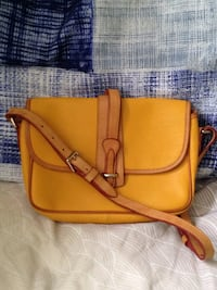 Authentic Dooney and Bourke Yellow Leather Shoulder Bag Handbag Purse.