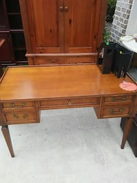 brown wooden single pedestal desk Cumming, 30041