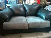 Black leather loveseat w grey suede cushions West Columbia, 29170