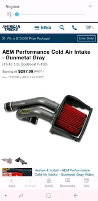 2015-16 f150 2.7 cold air intake Midway, 31320