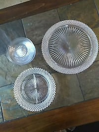 Glass cake plate 7 serving plates w/ relish dish  Boynton Beach, 33437