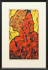 """Vintage limited edition woodblock print in color titled """"Old Woman"""""""
