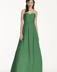 Strapless satin pleaded bodice ball gown
