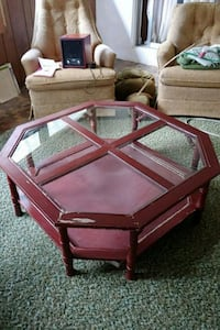 brown wooden framed glass top coffee table Inverness, 34452