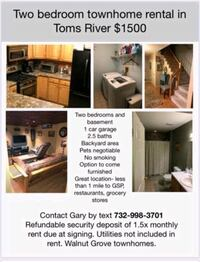 OTHER For Rent 2BR 2.5BA Toms River
