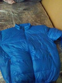 blue full-zip bubble jacket