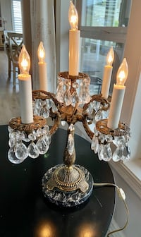 Antique Crystal, Marbel, and brass chandelier table lamp with shades