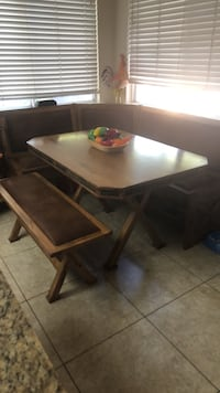 rectangular brown wooden table with two chairs Modesto, 95358