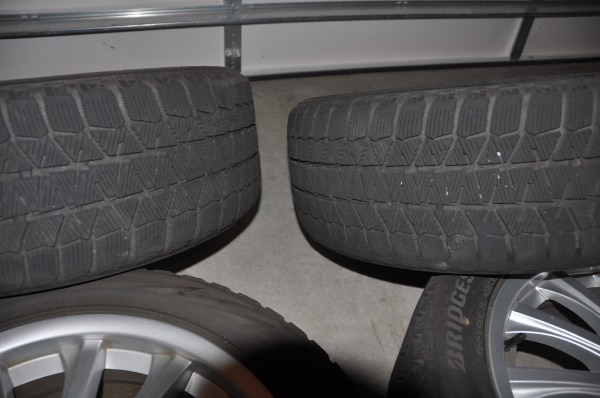 Price Reduced! - Now $250! - 4 Used Wheels with Bridgestone Blizzak Winter Tires WS80 - SIZE: 225/50R17 along with locking lug nuts to use with them e002f5f8-36ab-422e-ba19-c3f1a485b1ac