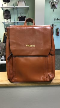 Brown sybartic leather backpack