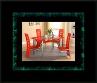 Glass red dining table with leather chairs Washington, 20018
