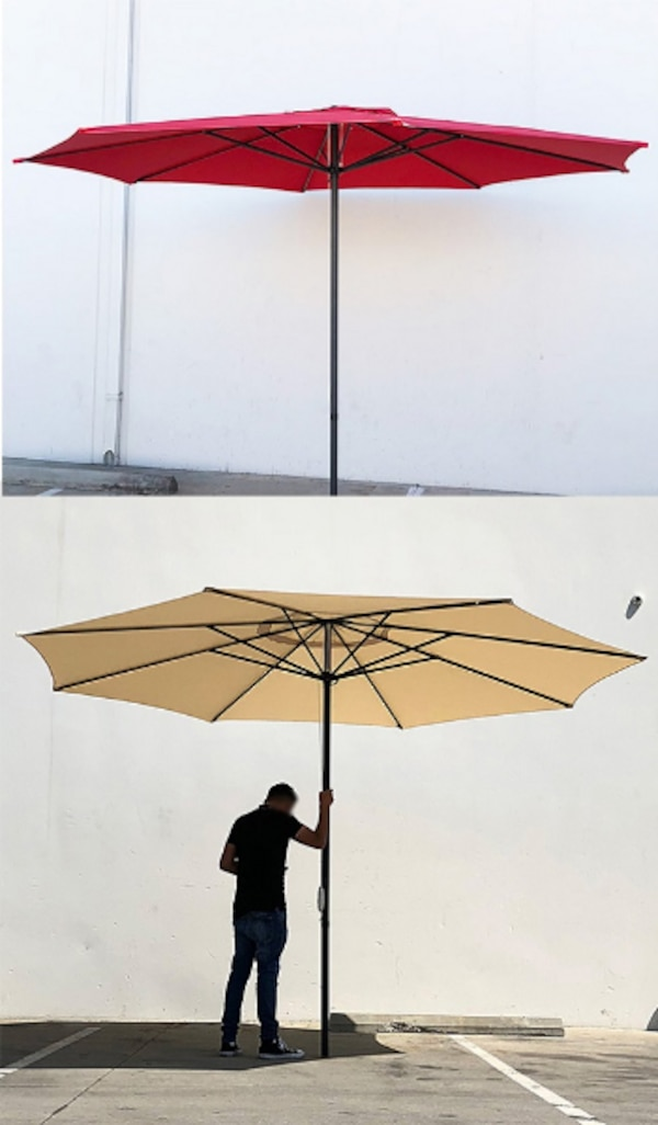 Used New 55 Each Outdoor 13 Ft Patio Umbrella Sun Shades Market Garden Deck Tan Red Or Green For In South El Monte Letgo