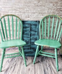 two green wooden windsor chairs Oakville, L6H 2K7
