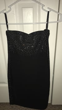 Rhinestone Bebe Black tube bandage mini dress Miami