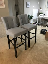 two black wooden framed gray padded chairs Fairfax, 22031