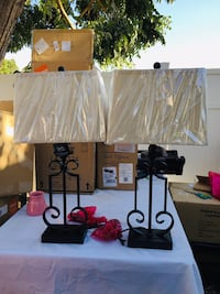 Metal table lamps with brown square shade Farmersville, 93223