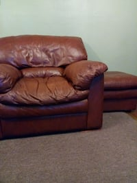 brown leather padded armchair & ottoman