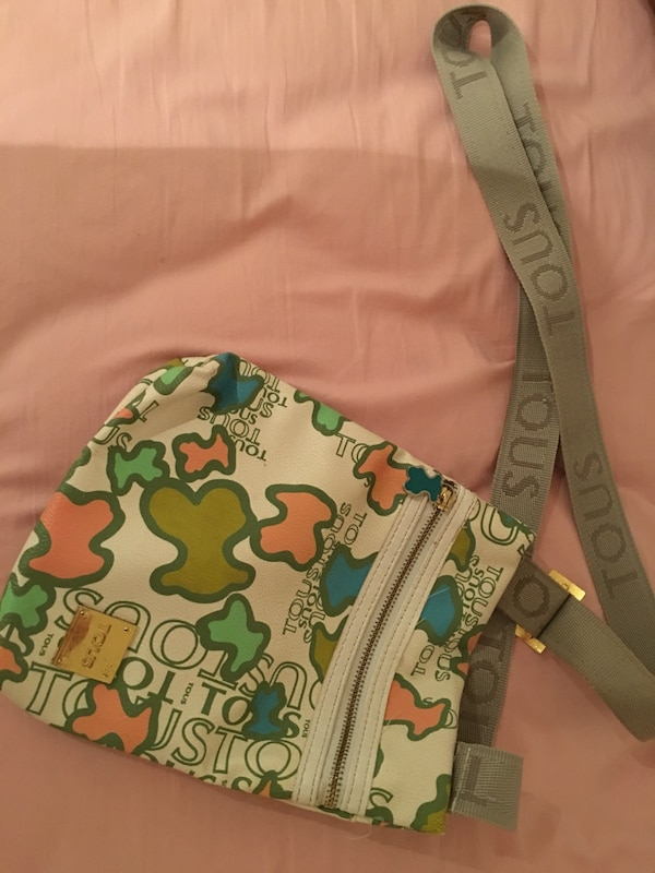 Gray, pink, and green tous cross body bag