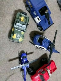 Helicopter, hummer, a jeep, and a off toad truck t