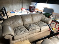 brown leather 3-seat sofa Roseville, 95678