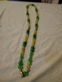 green and yellow beaded necklace New York, 10035