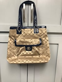 Authentic Fabric Coach Purse with Navy Leather Trim Myersville, 21773