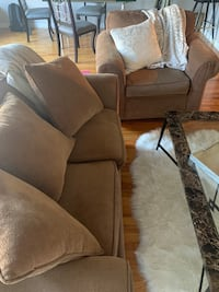 Brown sofa and armchair