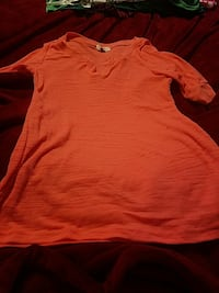 women's orange short-sleeved dress