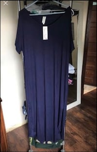 Navy XL Isaac Liev short sleeve maxi dress with slits Taneytown, 21787