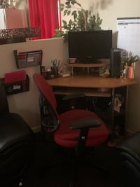 Corner Desk W Red Chair