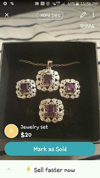 silver-colored and purple gemstone chain necklace and earrings set screenshot Tullahoma, 37388