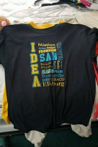 black, blue, and yellow crew-neck graphics t-shirt Brownsville, 78526