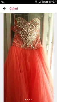 women's pink and silver sweetheart gown
