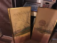 two brown wooden framed painting of trees Keyport, 07735