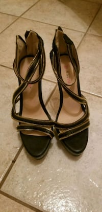 pair of black leather open-toe ankle strap heels Hyattsville, 20784