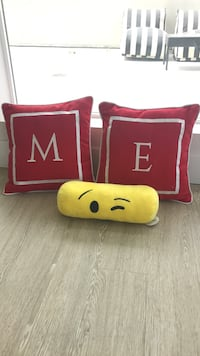 two red throw pillows and yellow bolster pillow Los Angeles, 90094