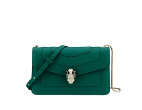 Shoulder bag in Serpenti Forever emerald green calf leather with brass light gold plated Serpenti head closure in black and white enamel with eyes in malachite.