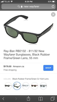 Black framed ray-ban wayfarer sunglasses screenshot Central Okanagan, V1Z 3K8