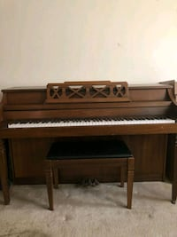 brown wooden upright piano with chair Alexandria, 22315