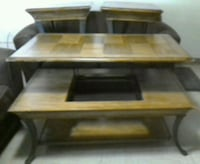 3PCS Rustic Wooden Tables with Metal legs Turlock, 95380
