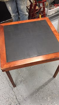Antique leather top folding card table