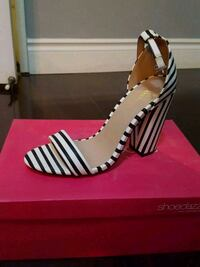 white and black leather open toe ankle st Toronto