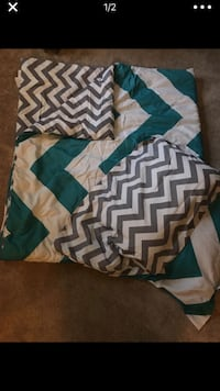 Teal, white, and grey chevron comforter Alexandria, 22310