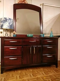 Nice wooden dresser with big mirror and cabinet in Annandale, 22003